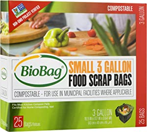 BioBag Premium Compostable Food Scrap Bags, 3 Gallon, 25 Count