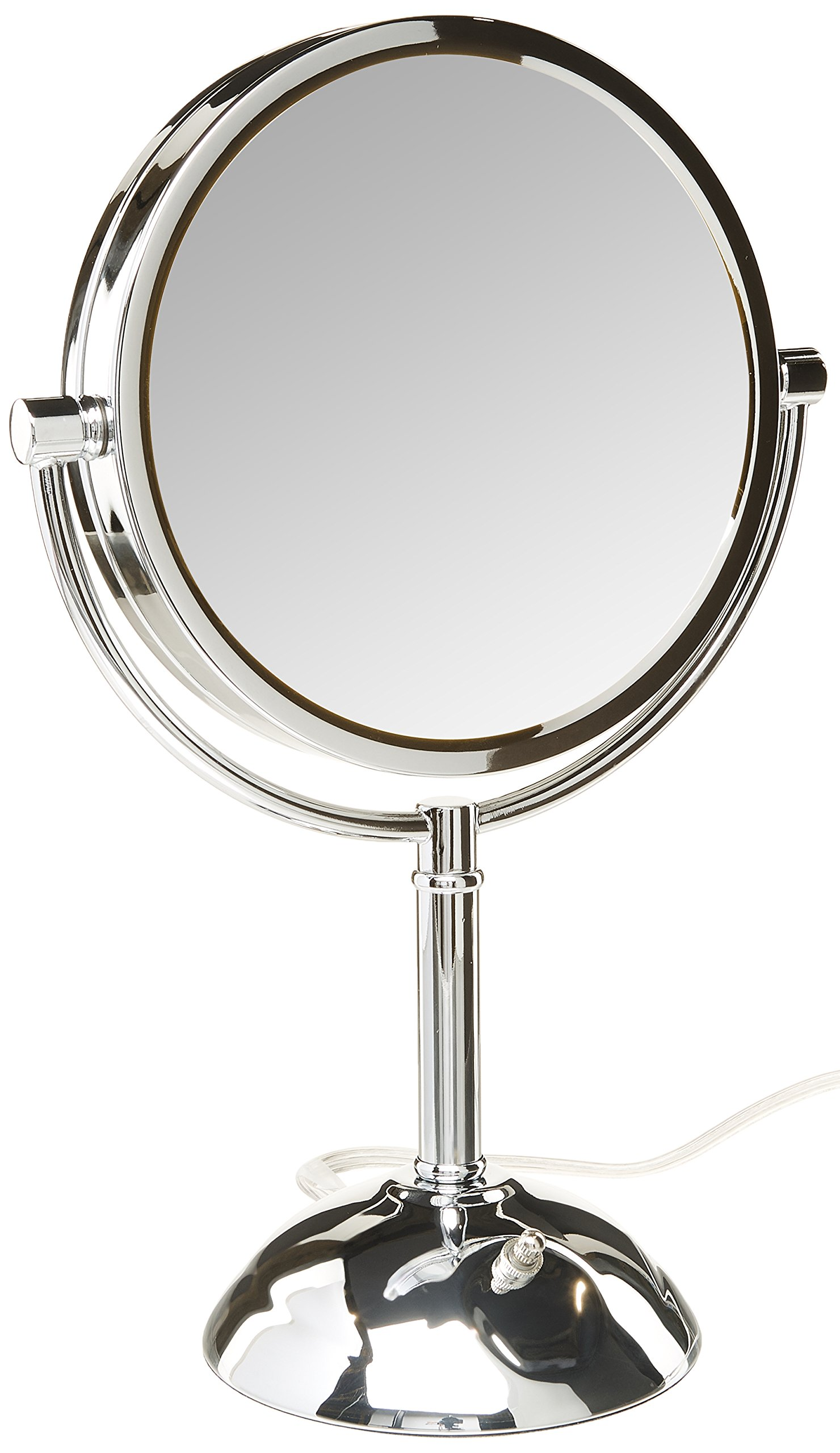 Jerdon HL8808CL 8.5-Inch Tabletop Two-Sided Swivel LED Lighted Vanity Mirror with 8x Magnification, 3-Light Settings, Chrome Finish by Jerdon