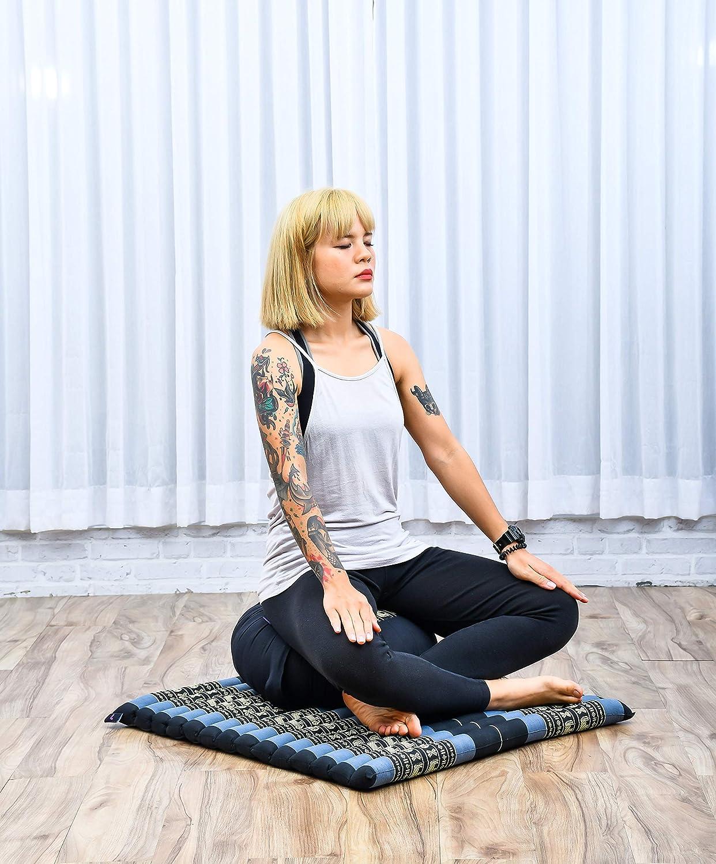 Kapok Leewadee Ensemble De Coussins De M/éditation Set Yoga Coussin Zafu Rond Et Grand Tapis Zabuton Carr/é pour SAsseoir Au Sol Produit Naturel Et /Écologique