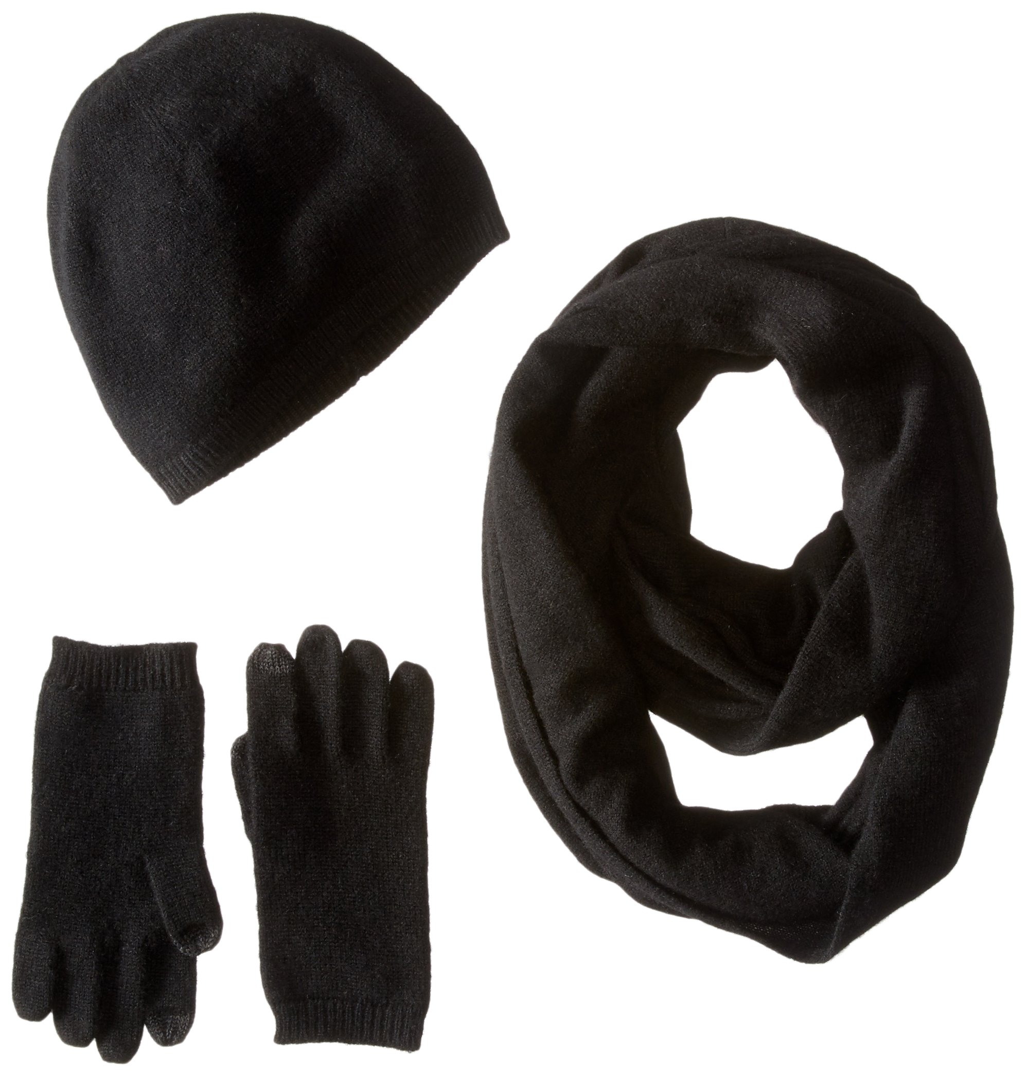 Sofia Cashmere Women's Gift Box Set - Hat, Smartphone Gloves, and Infinity Scarf, black, ONE