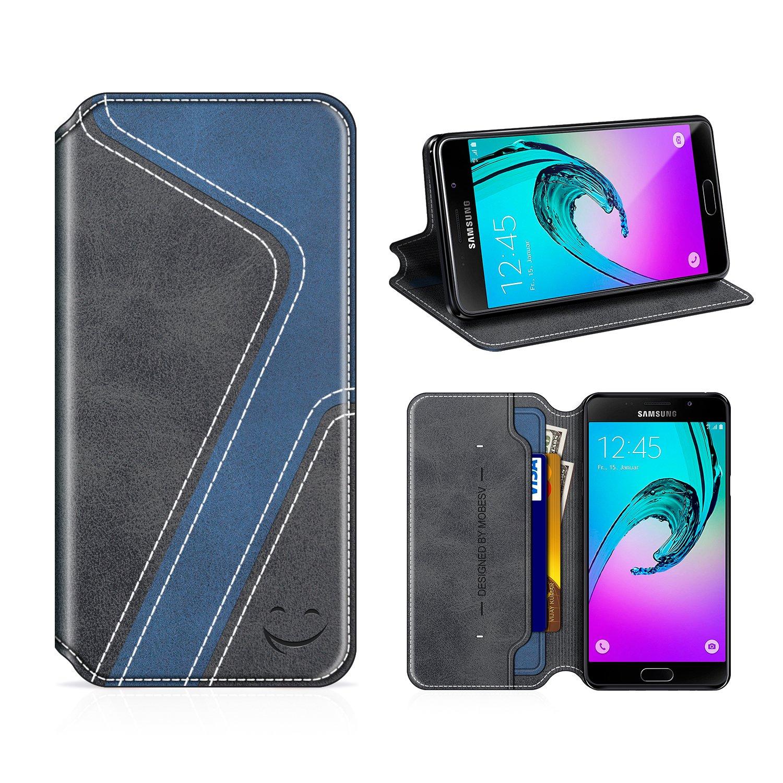 Funda Cuero Movil Samsung A5 2016 Carcasa Case con Billetera//Soporte para Samsung Galaxy A5 2016 MOBESV Smiley Funda Cartera Samsung Galaxy A5 2016 Negro//Azul Oscuro