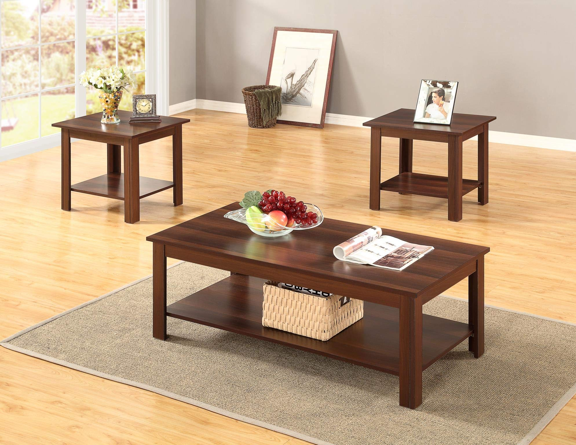 GTU Furniture Occassional Modern, Contemporary, Transitional, Traditional, 3-Piece Square Accent Table Set with 1 Coffee Table, and 2 End Tables in a Rich Dark Oak Brown Wood Finish, with Storage Shel by GTU Furntiure