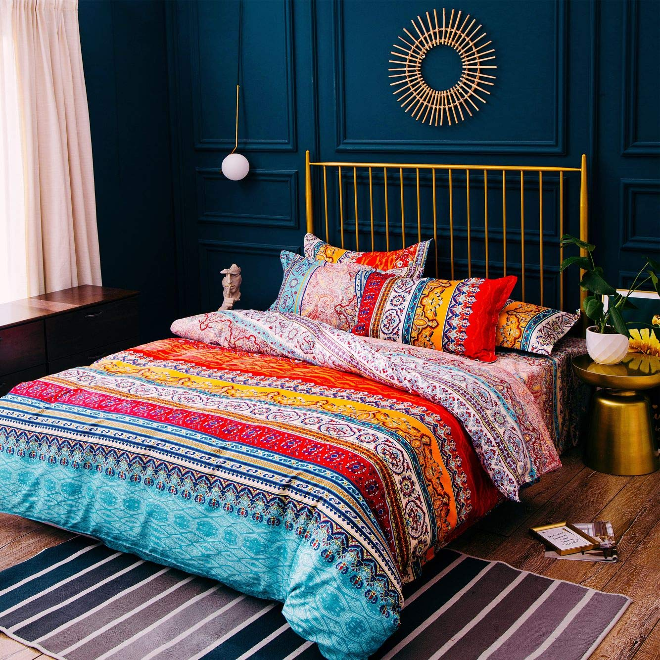 Bohemian Duvet Cover Queen Colorful Floral Boho Striped Bedding Set Ultra Soft Microfiber Double Duvet Cover Southwestern Indian Tribal Reversible Bedding Exotic Style Decor Bohemia Comforter Cover