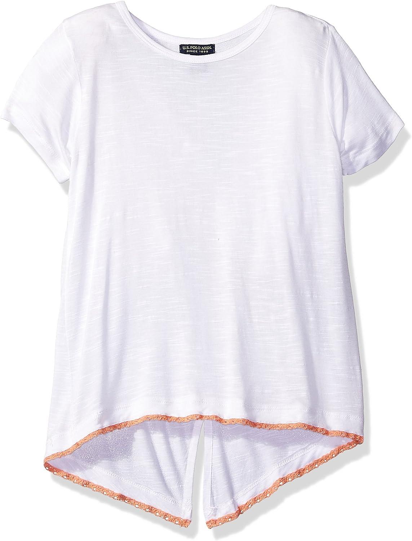 U.S Polo Assn Girls S//S Slub V-Neck Tee w//Scarf  Size 4 5//6 6X