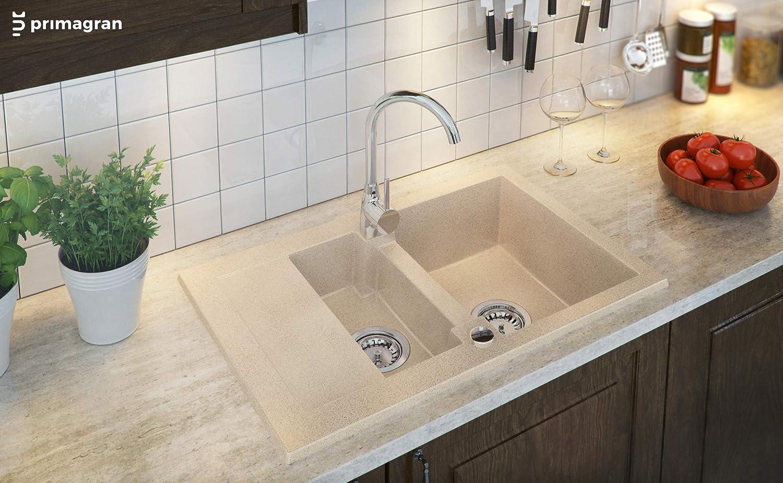 Primagran Spulbecken Aus Granit Riga Einzelbecken Einbauspule Inclusive Ablaufgarnitur Mit Siphon 1 Becken Com Kuchen Badinstallationen