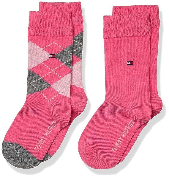 Tommy Hilfiger TH Kids Original Argyle Sock 2P, Calcetines para Niñas, Rosa (Pink