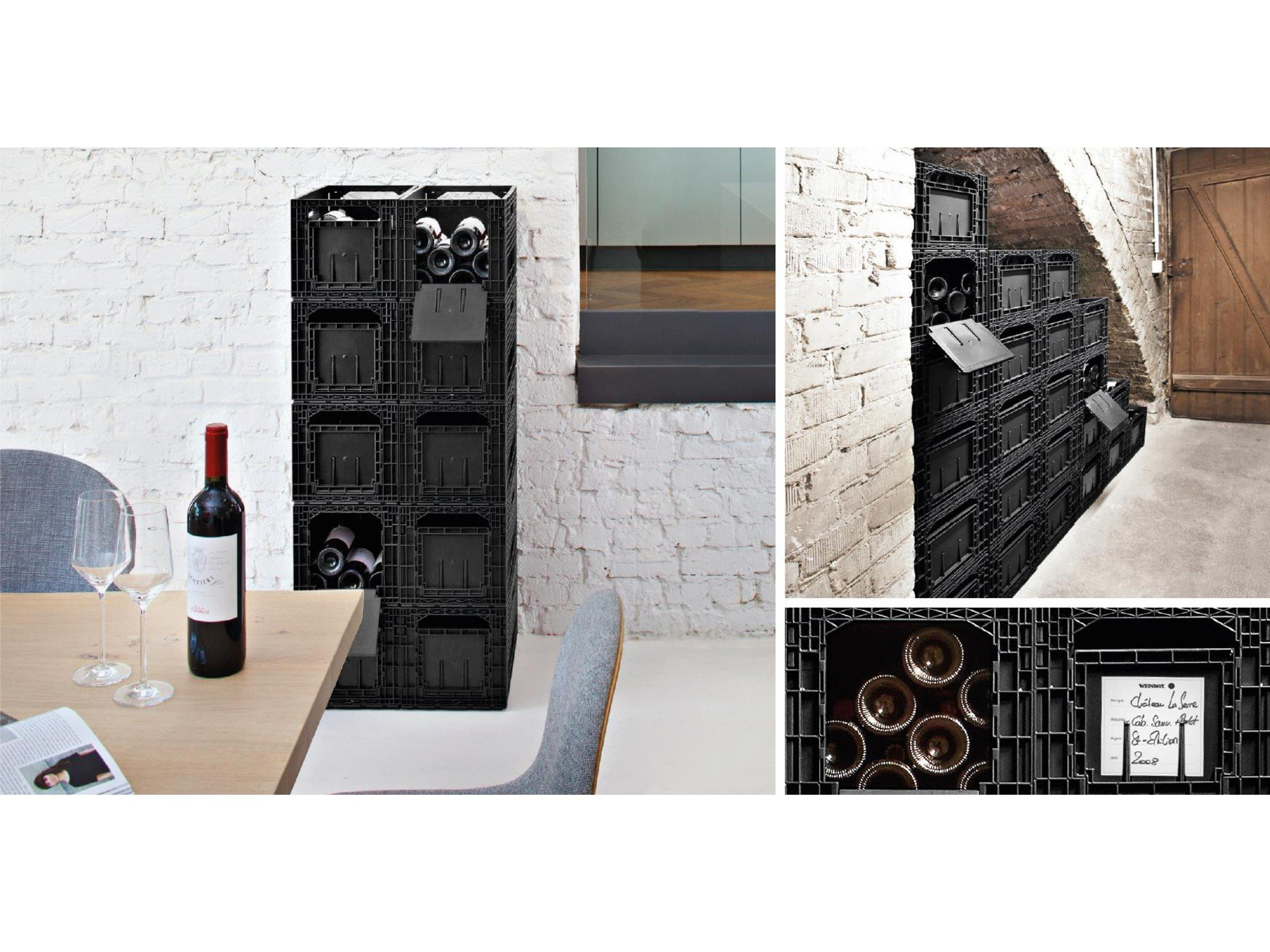 Flexible Wine Storage System for Wine Collectors | Front and Rear Access Door | Stackable Storage Solution | 6 Separate Weinbox Storage Crates | Hold Up To 72 Bottles | Works with All Bottle Shapes