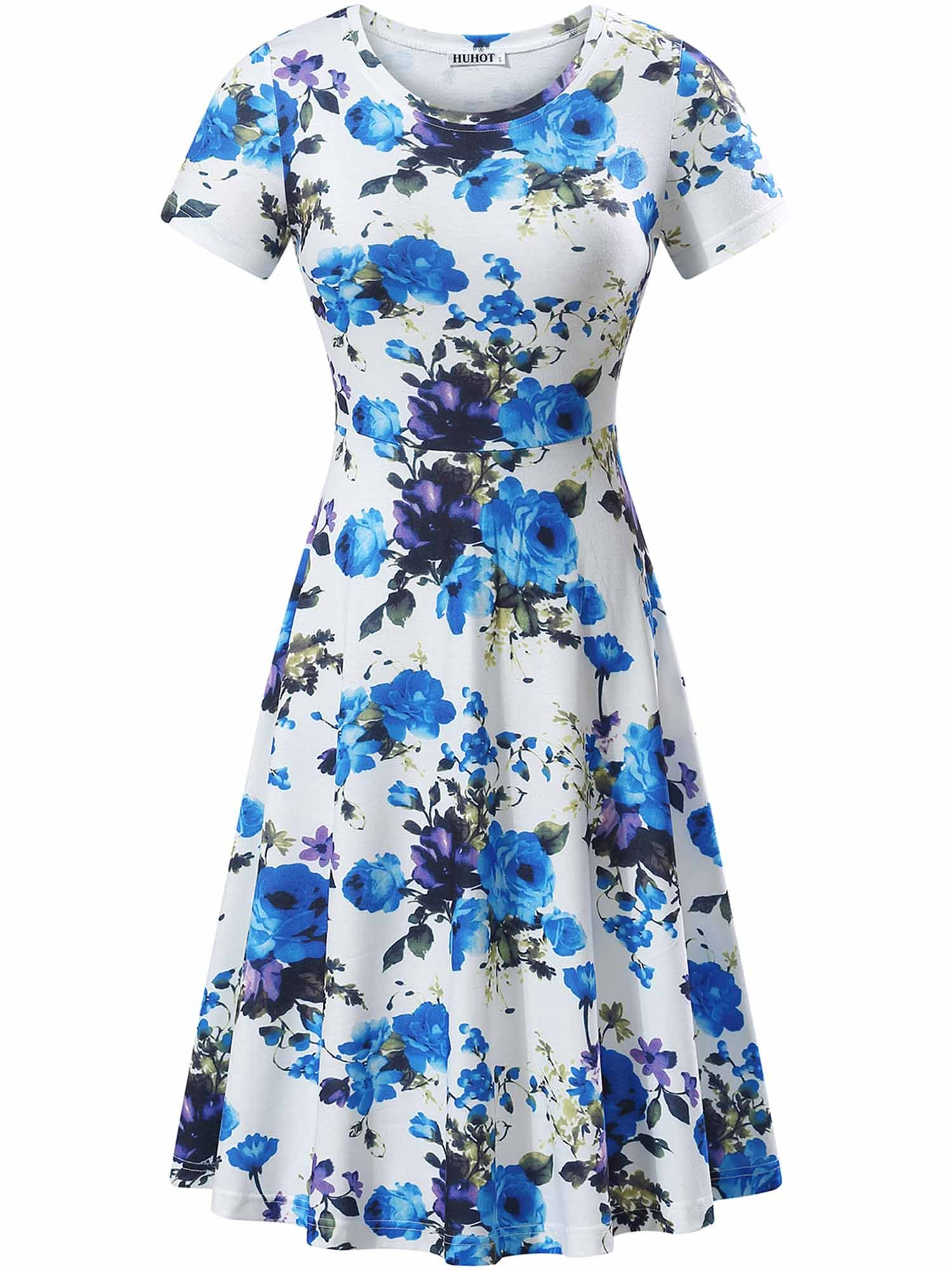 HUHOT Sundress for Women, Summer Party Midi Short Sleeves Travel Skater Dress(Print 2,Medium)