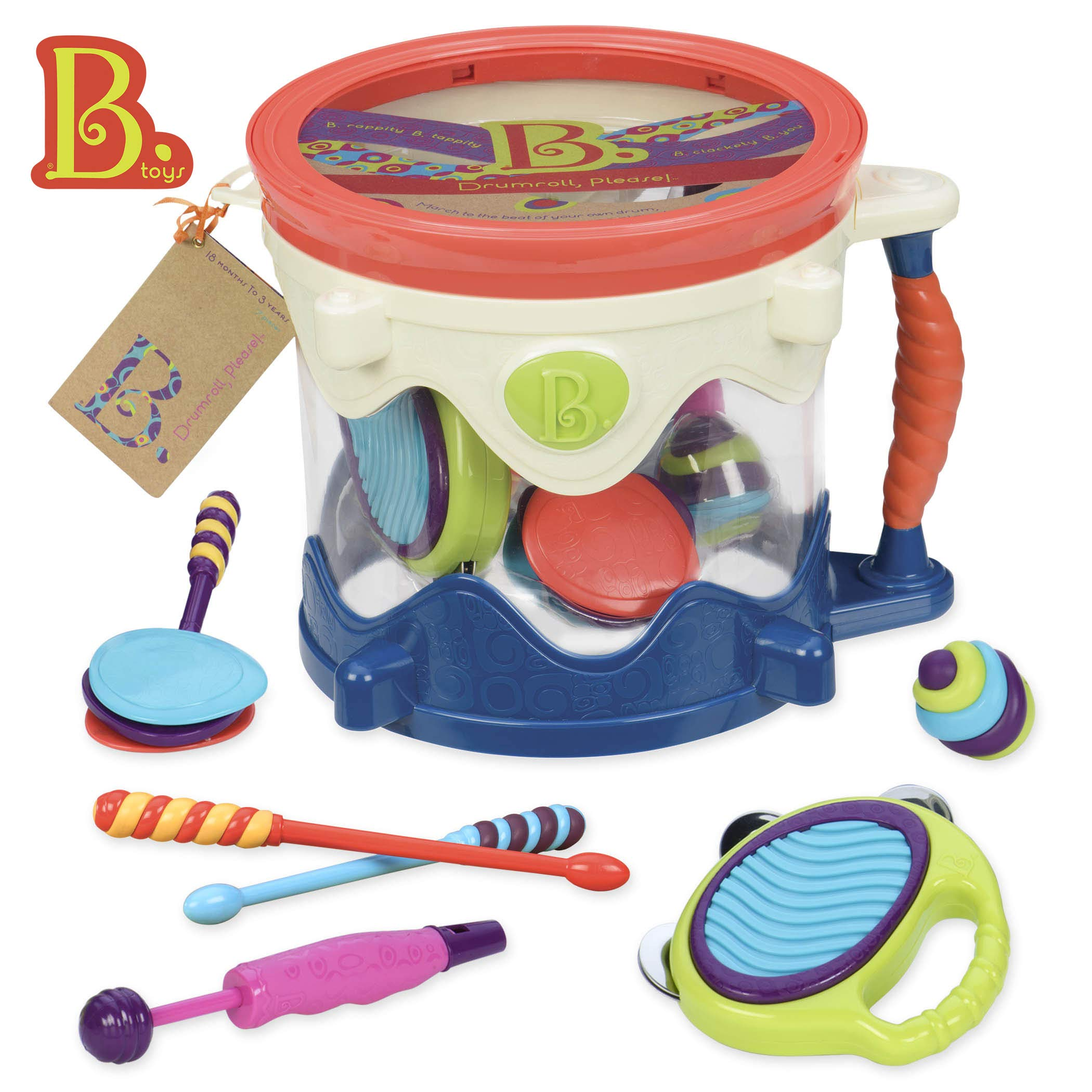 B toys - Drumroll Please - 7 Musical Instruments Toy Drum Kit for Kids 18 months + (7-Pcs) by B. toys by Battat