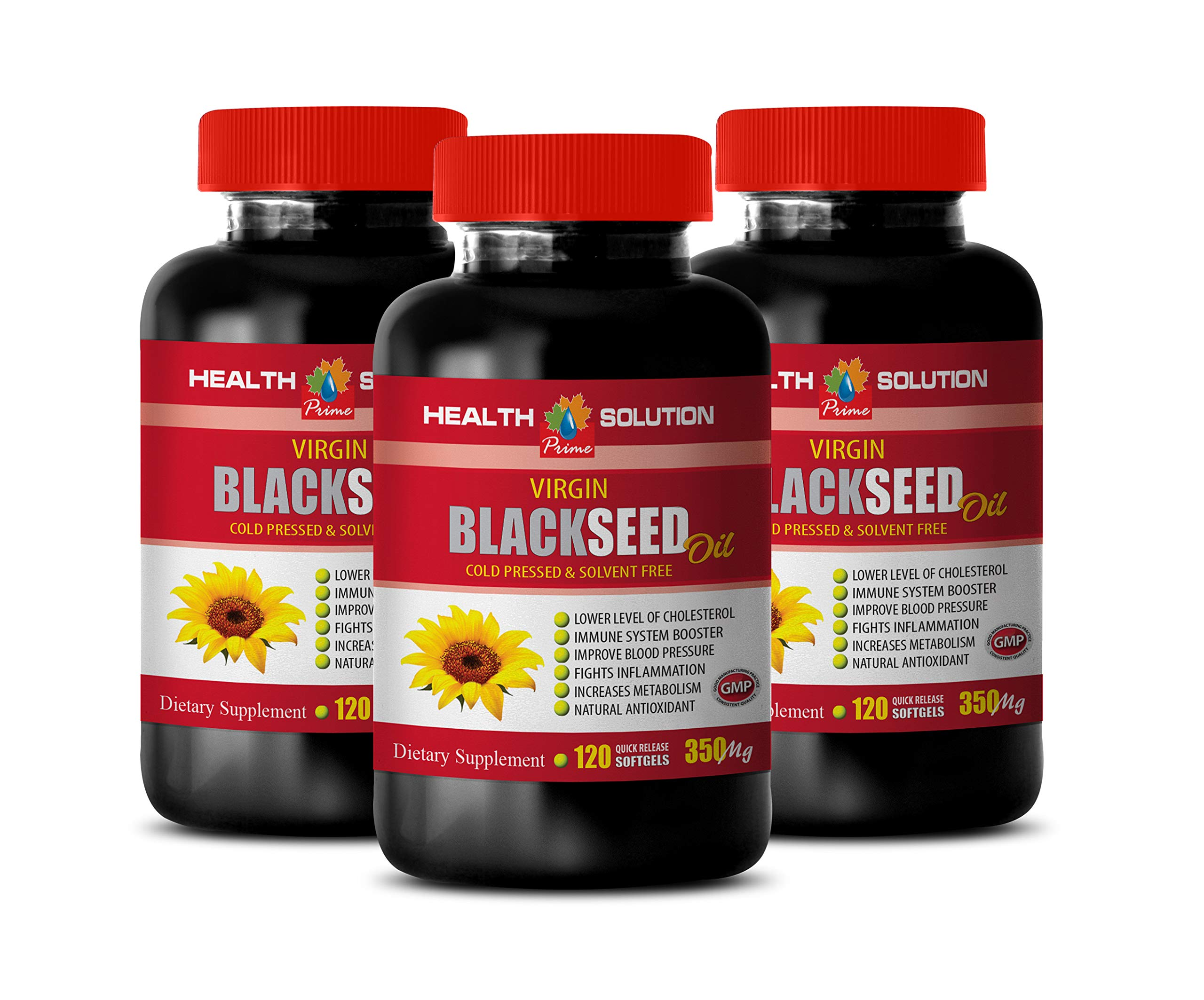 Liver Support and Cleanse Supplement - Black Seed Oil 350 MG - Cold Pressed & Solvent Free - Black Seed Oil for Blood Pressure - 3 Bottles 360 Softgels