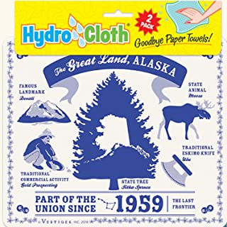 product image for Fiddler's Elbow The Great Land, Alaska Hydro Cloth | Eco-Friendly Sponge Cloths | Reusable Swedish Dish Cloths | Set of 2 Printed Sponge Cloths | Replaces 30 Rolls of Paper Towels