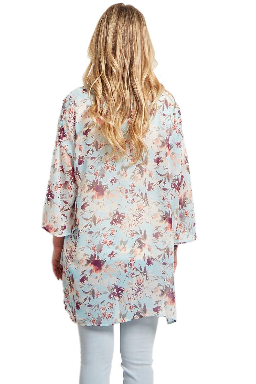 f8901d9210 PinkBlush Maternity Light Blue Floral Chiffon Bell Sleeve Kimono ...
