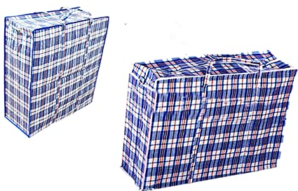 anselynn Laundry Bags Set of 2 Large Plastic Checkered Storage Laundry Shopping Bags with Zipper and Handles!Great for ...