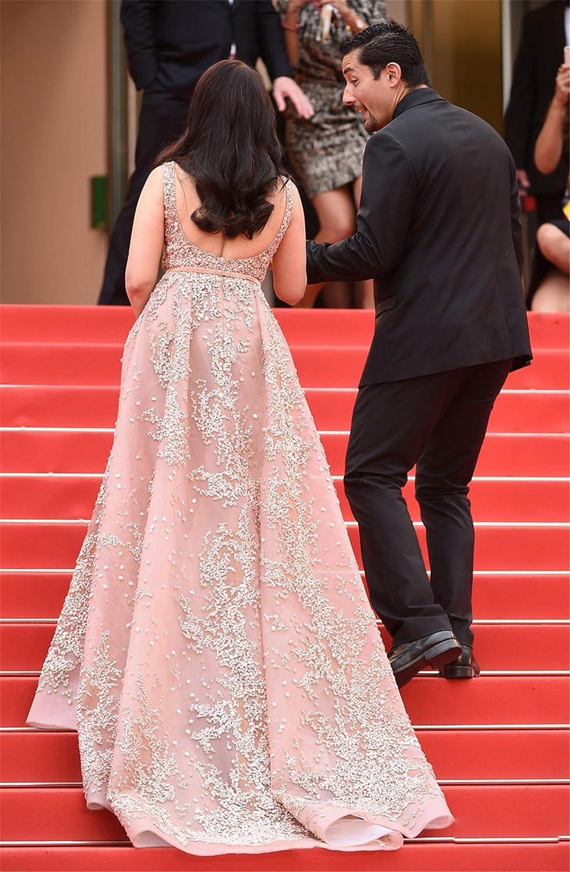 Amazon.com: Newdeve Stylish Beading Champagne Maxi Formal Dresses ...