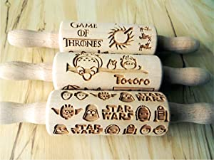 FANTASY 3 KID ROLLING PIN SET MINI DOUGH ROLLERS for EMBOSSED COOKIES GAMES of THRONES STAR WARS STARK MOVIE ANIMATION GIFT FOR KID BIRTHDAY CHRISTMAS
