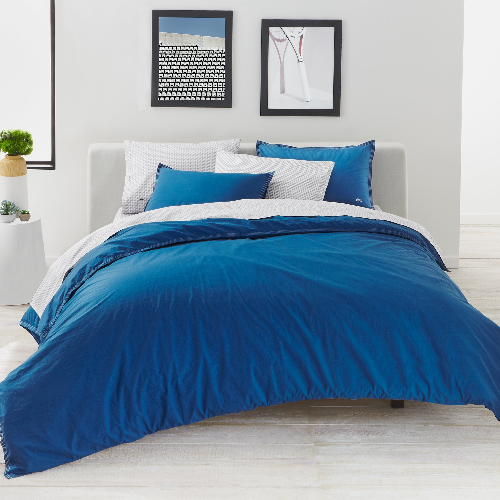 Lacoste Washed Solid Duvet Set, Blue Sapphire, Twin/Twin Extra Long