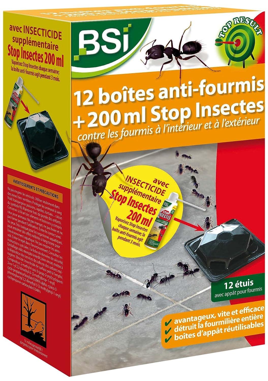 BSI 17812 Boî te anti-fourmi 12 piè ces avec Stop Insectes 200 ml