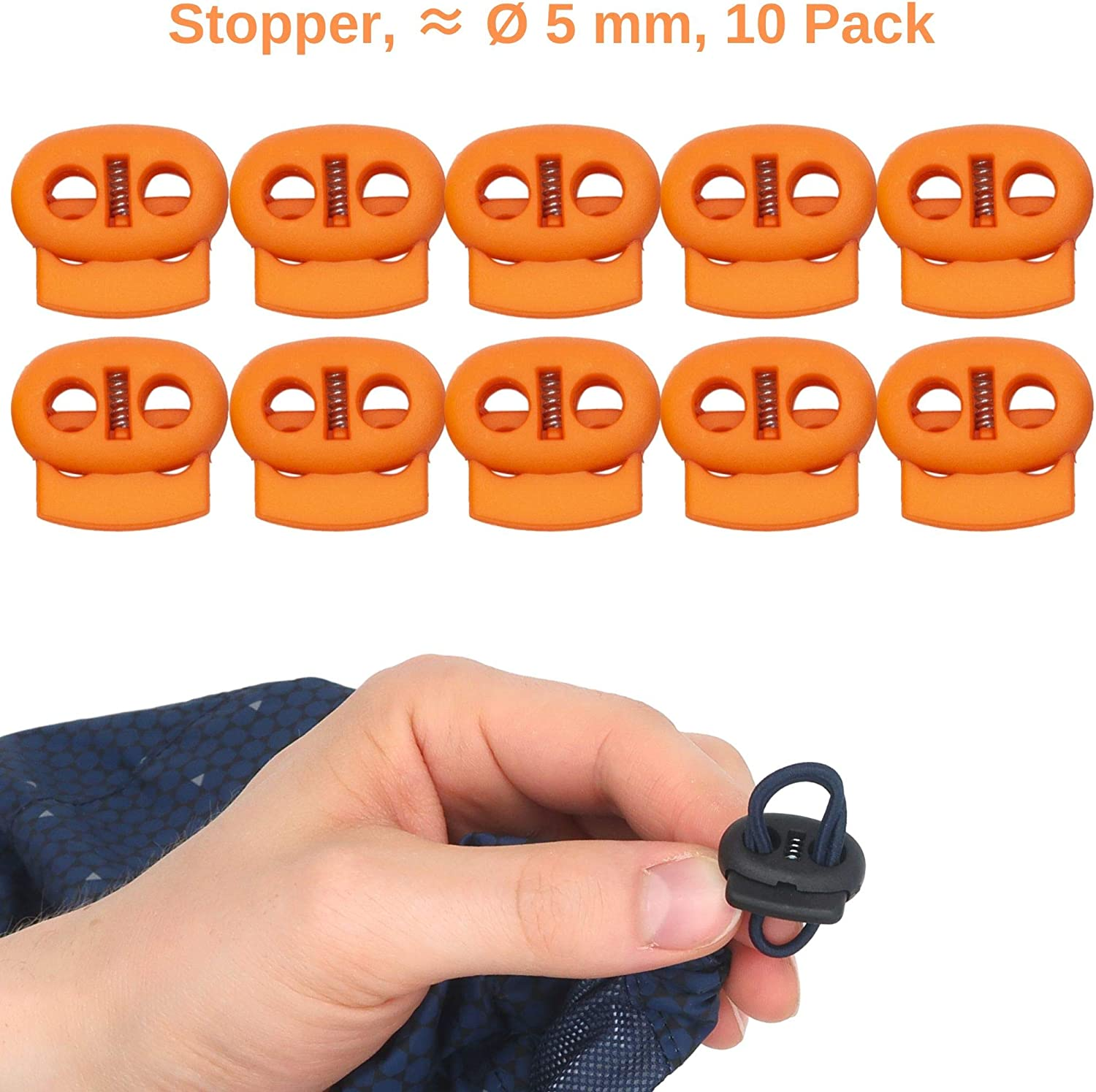 /Ø 5 mm Hole Cord Adjuster Drawstring Stopper Cord Fastener 5 mm Cord Stopper with Double Hole 10 Pack Cord Lock with Push Button 22 x 20 mm Ideal for /Ø 4 mm Drawstrings Spring Cord Lock