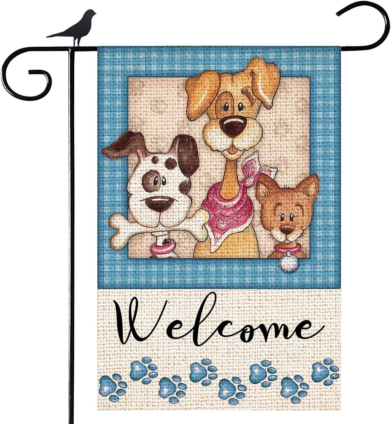 Shmbada Welcome Dogs Puppy Paw Print Burlap Garden Flag, Double Sided Vertical Outdoor Spring Summer Decorative Small Flag for Home Garden Yard Patio Farmhouse, 12 x 18 Inch