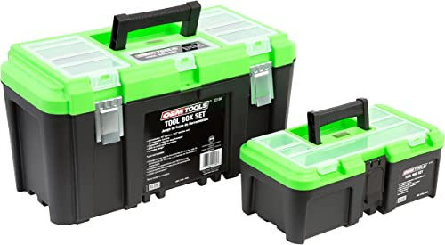 OEMTOOLS 22180 Tool Box Set with Removable Tool Tray Contains 19 12.5 Tool Boxes with Removable Trays Ultimate in Household Professional Tool Storage Lightweight Rugged Green Black