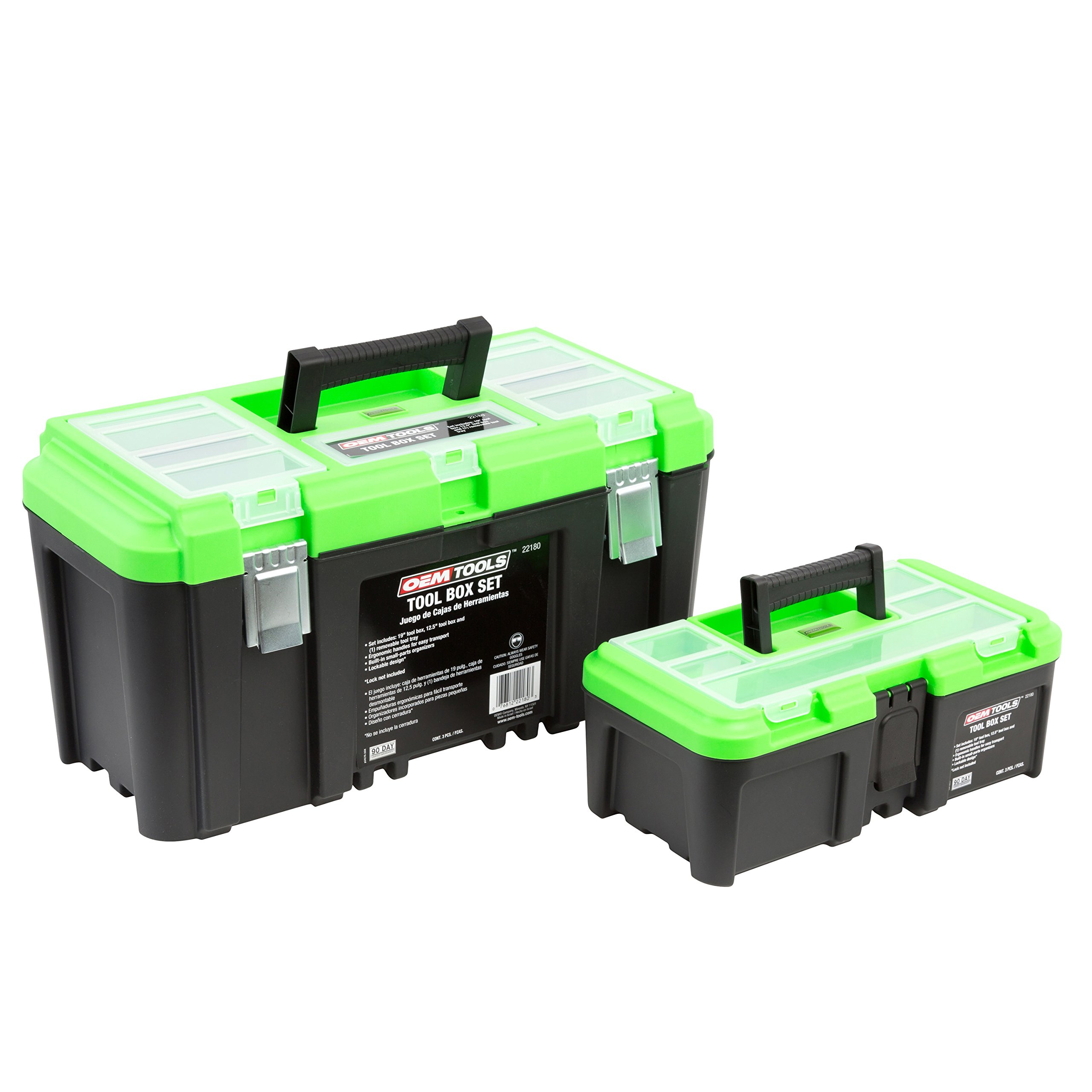 OEMTOOLS 22180 Tool Box Set Includes 19'' Tool Box, 12.5'' Tool Box with Removable Tool Tray