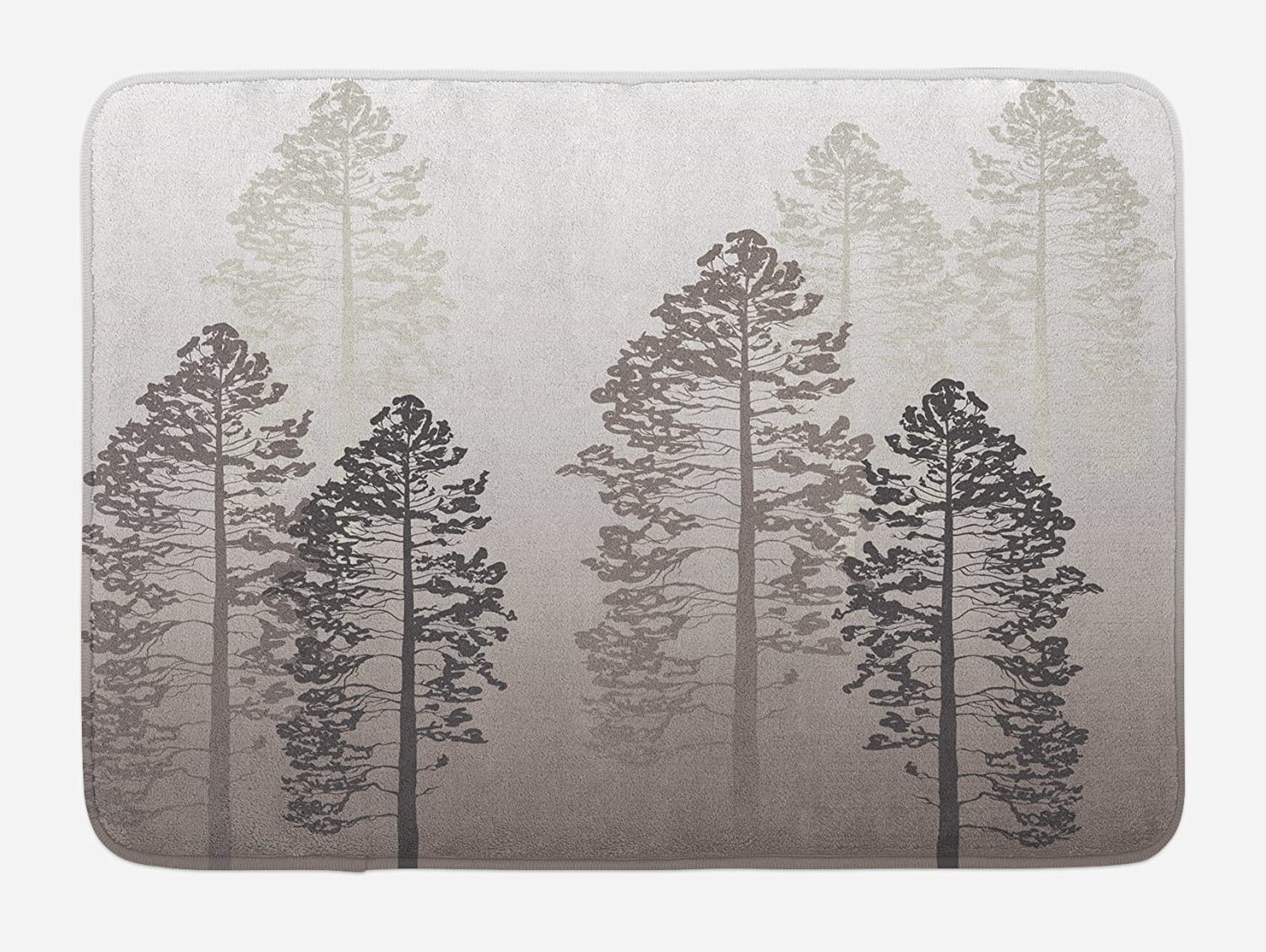 Ambesonne Country Bath Mat, Pine Trees in The Forest on Foggy Seem Ombre Backdrop Wildlife Adventure Artwork, Plush Bathroom Decor Mat with Non Slip Backing, 29.5