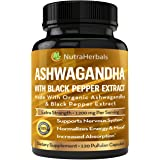 Ashwagandha Supplement Made with Organic Ashwaganda Root Powder 1200mg with Black Pepper Extract for Increased Absorption - 1