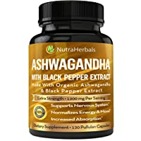Ashwagandha Supplement Made with Organic Ashwaganda Root Powder 1200mg with Black Pepper Extract for Increased Absorption - 120 Pullulan Capsules
