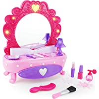 Boley Fashion Vanity Mirror - 38 Piece Play Set with Pretend Makeup for Little Girls, Table with Light-Up Musical Mirror…
