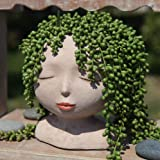 YIKUSH Female Head Design Succulents Plant Pot with Drainage Hole/Cactus Planter Indoor Outdoor Resin Planter, Cute Plants Fl
