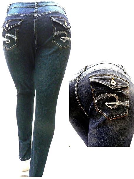 Amazon.com: C-F Stretch cintura alta Mujeres Plus Tamaño ...