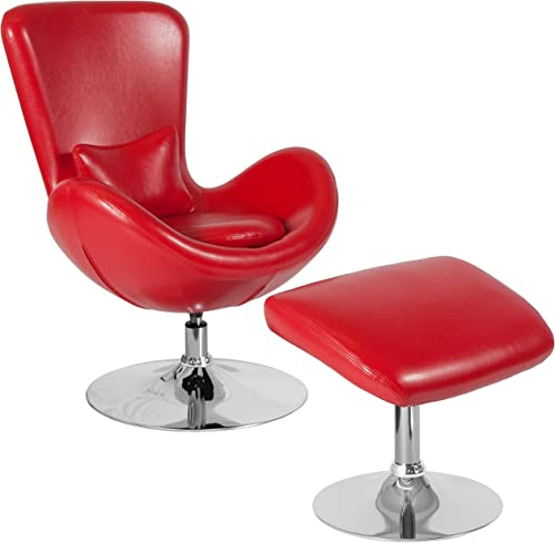 Flash Furniture Egg Series Red LeatherSoft Side Reception Chair
