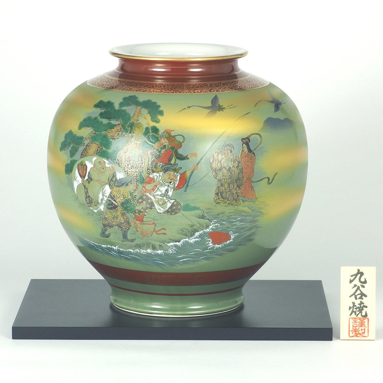 【九谷焼】10号花瓶 七福神 花台付 B07636L6XV