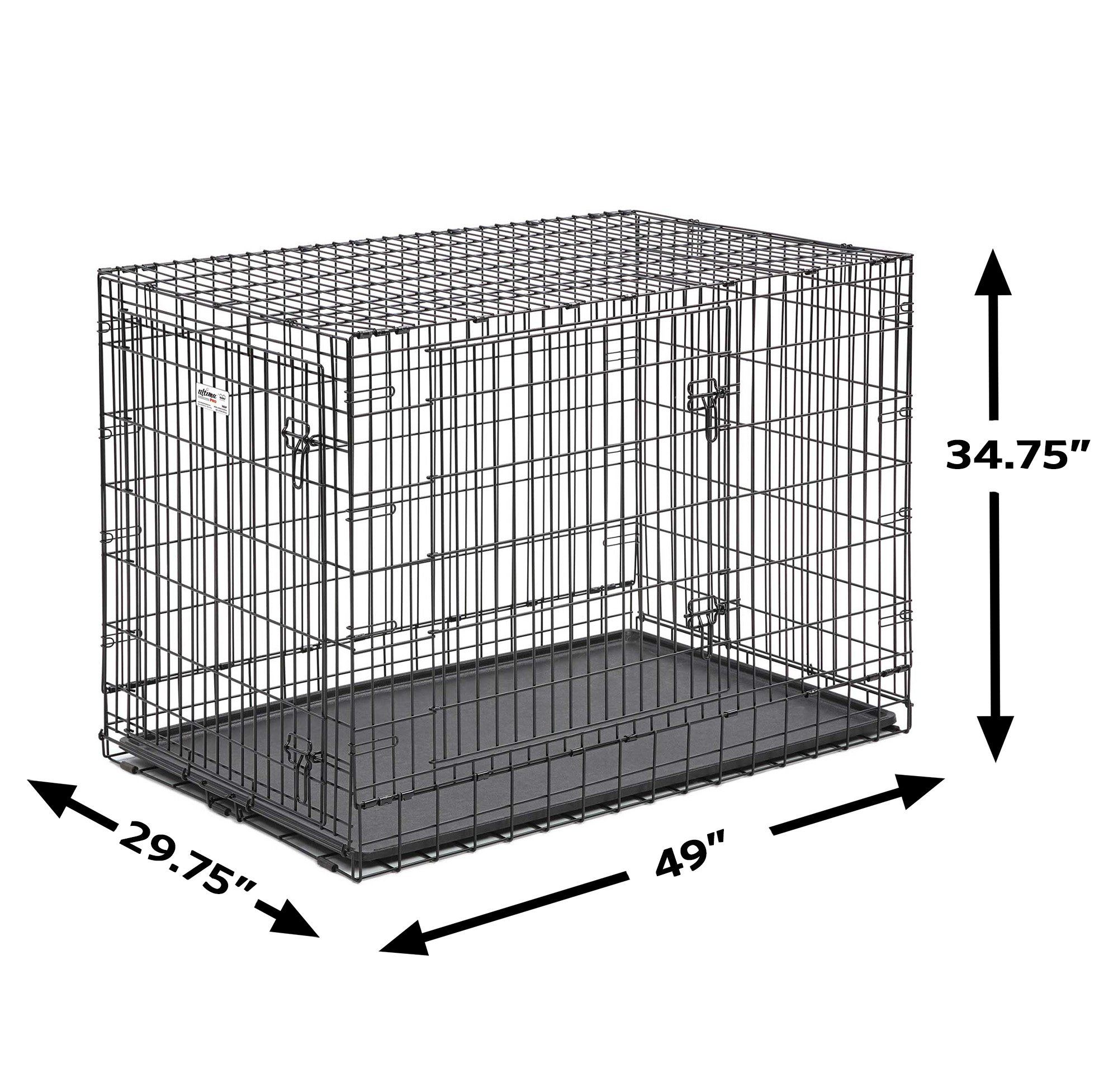 MidWest Ultima Pro (Professional Series & Most Durable Dog Crate) | Extra-Strong Double Door Folding Metal Dog Crate w/Divider Panel, Floor Protecting ''Roller Feet'' & Leak-Proof Plastic Pan by MidWest Homes for Pets