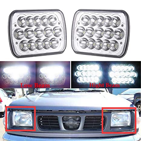 7x6 5x7 LED Headlights For Nissan Pickup Truck 240SX 200SX 300ZX Sentra  Pulsar NX H6054 6054 High and Low Sealed Beam Square Rectangle Headlamp