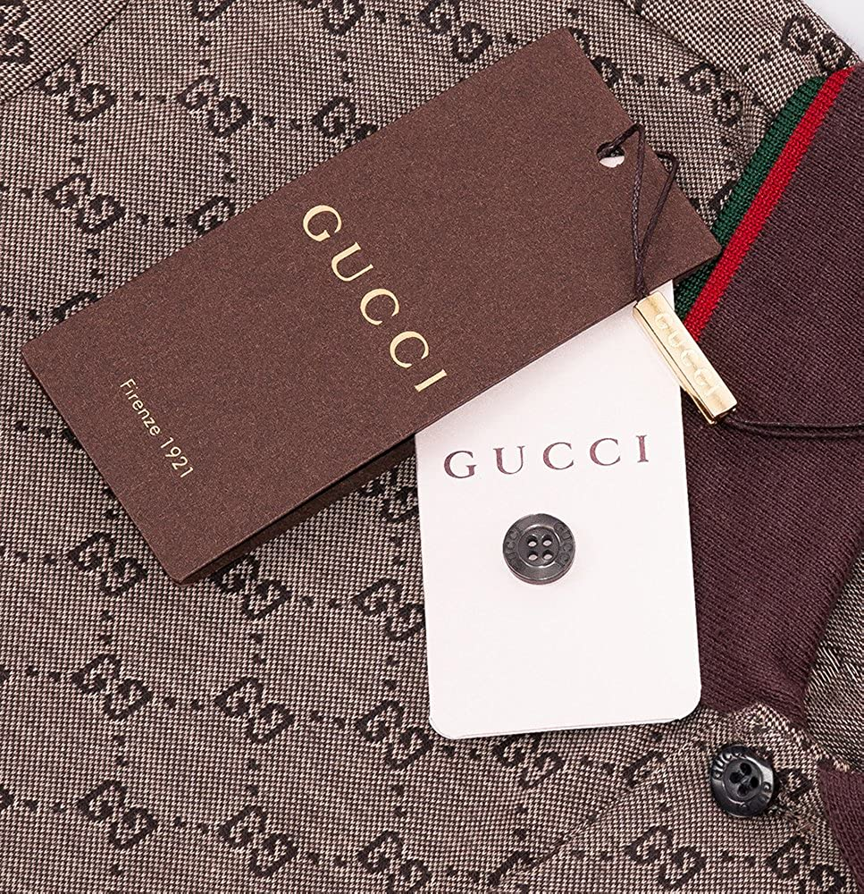 3bc831986982 Amazon.com: Gucci Polo Shirt, Mens Brown Short Sleeve Polo T- Shirt GG  Print: Sports & Outdoors