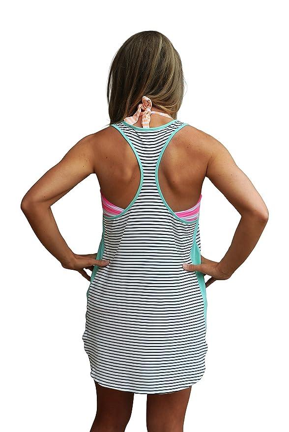 961657d01ed Racerback Swimsuit Cover Up Beachwear Dress (X-Large, Black Stripe) at  Amazon Women's Clothing store: