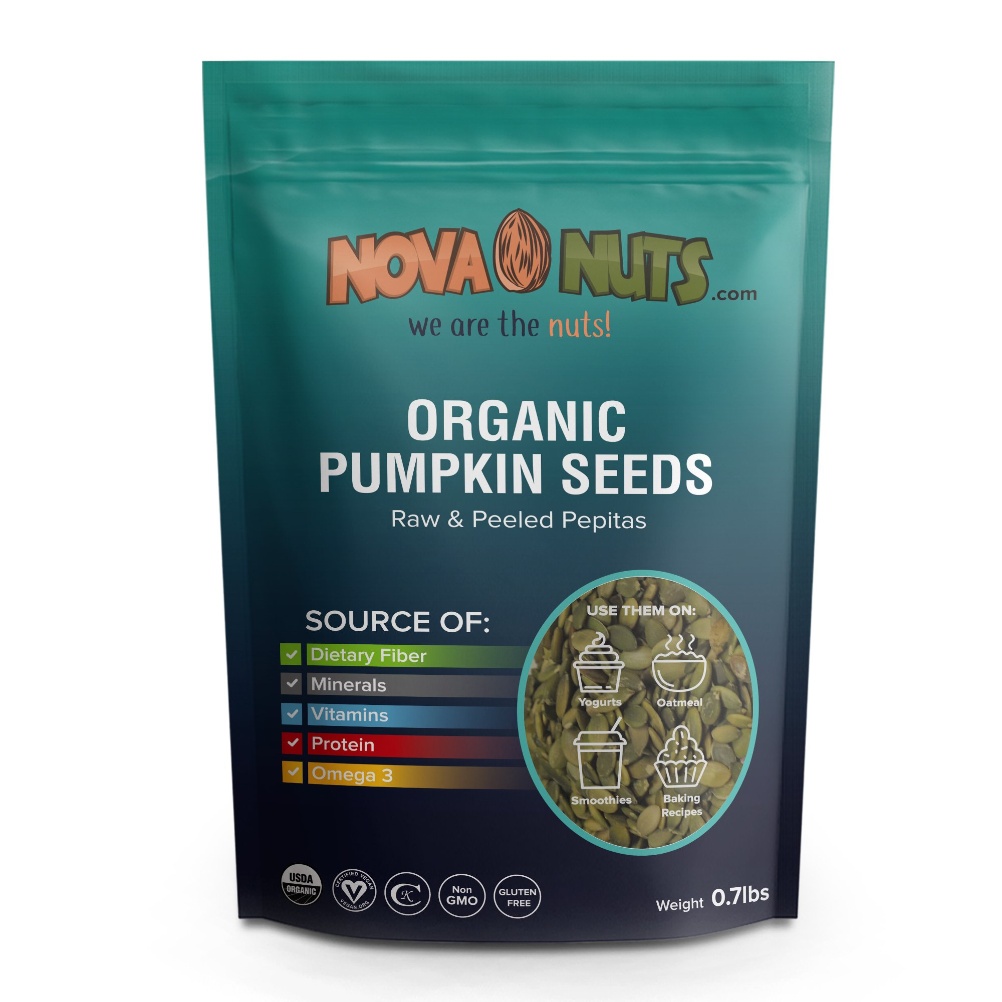 Organic Pumpkin Seeds By Nova Nuts - Natural Vitamins & Minerals from Raw Whole Foods (Pepitas 0.7 pounds)