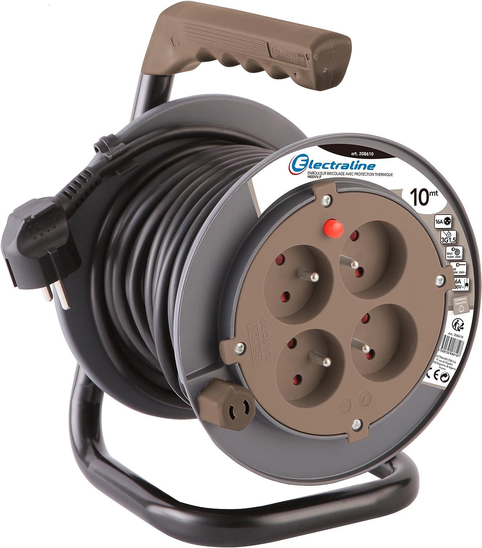 Electraline 208610/Prolunga elettrica 10/m con avvolgicavo 4/prese 16/A sezione 3/G1,5/mm/² Tortora