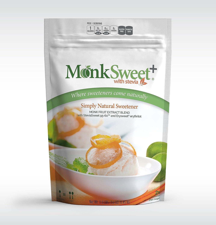 MonkSweet Plus - 1 lb bag/6 pack Monk Fruit, Stevia & Erythritol Blend  NonGMO Low Carb Sweetener