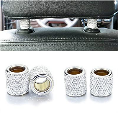 Car Headrest Collars,Car Head Rest Collars Rings Decor Bling Bling Crystal Diamond Ice for Car SUV Truck Interior Decoration Blings-4 Pack White: Automotive