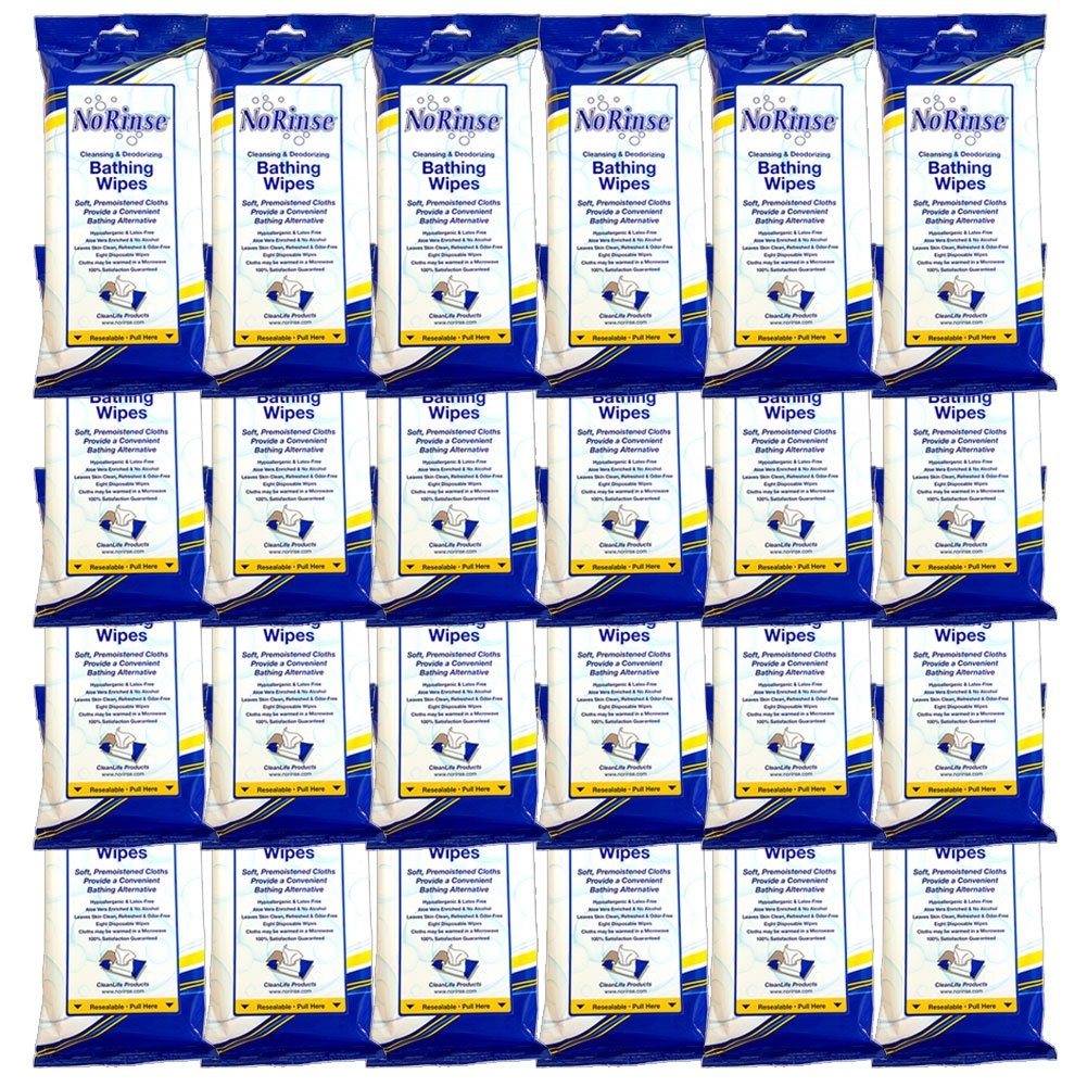 (Set/24) No Rinse Body Wipes - Caregiver Bathing Cloths 192 Wipes Total