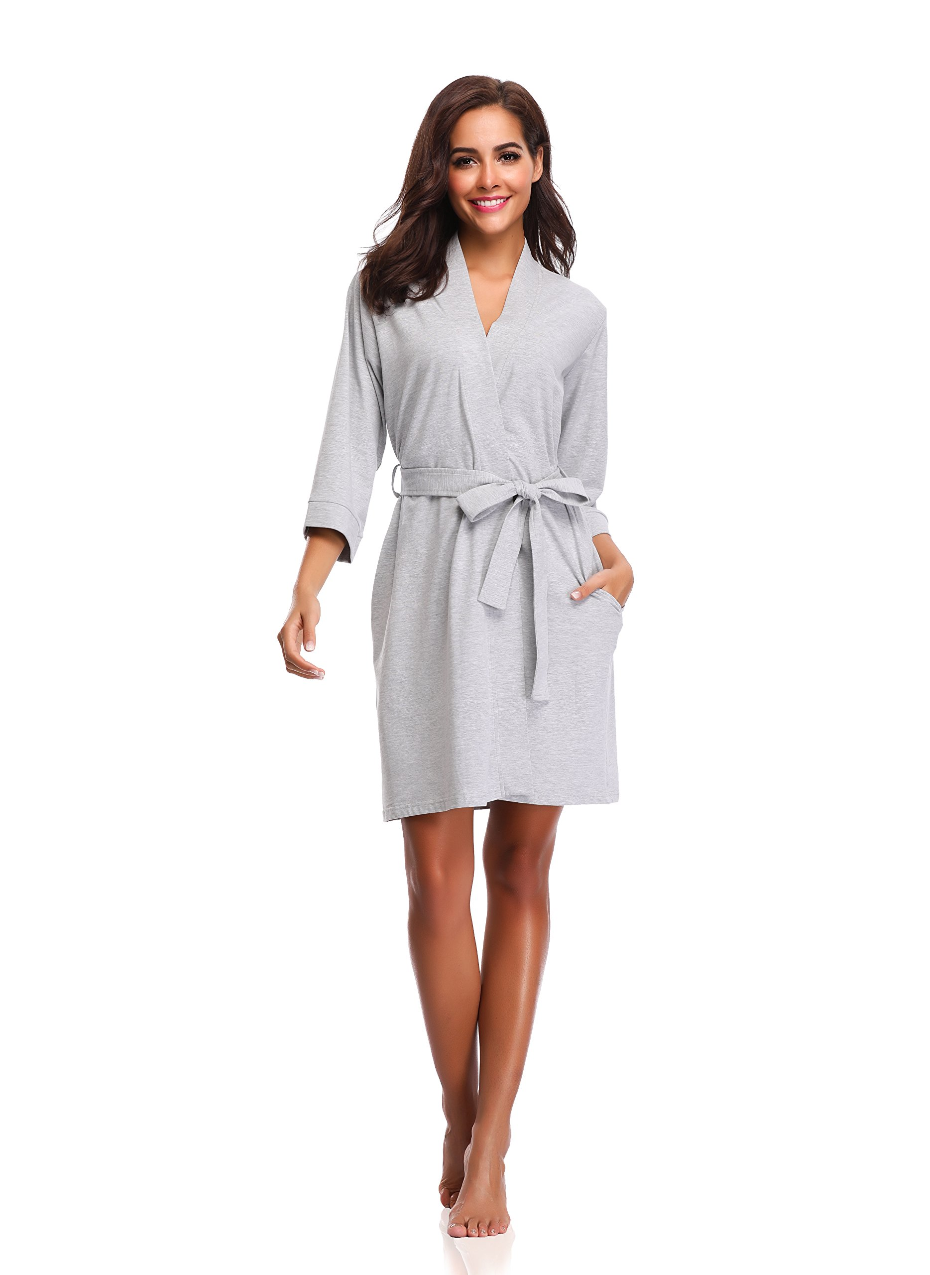 Luvrobes Women's Cotton Knit Kimono Robe (XL, Heather Grey)