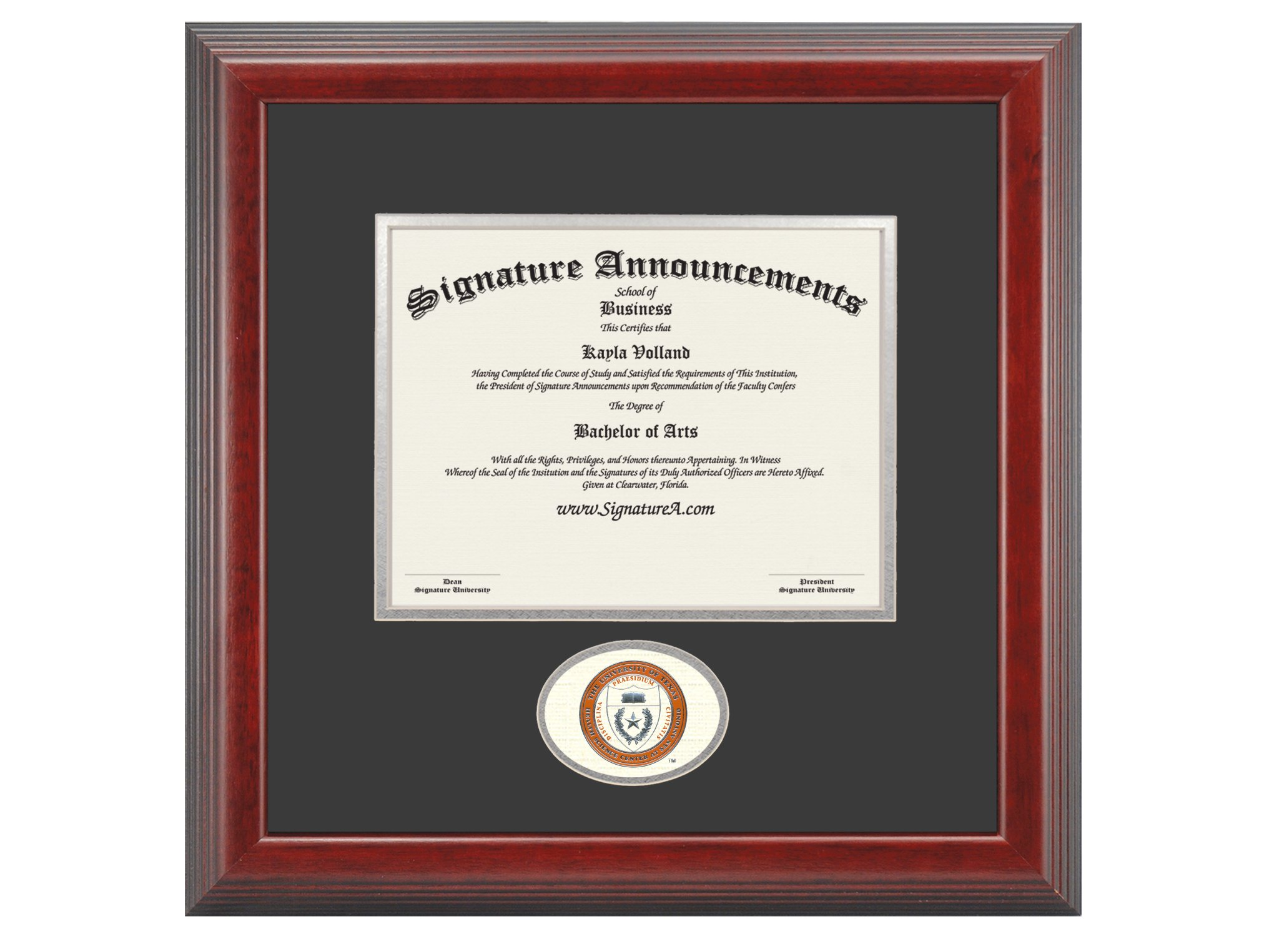 Signature Announcements the University of Texas Health Science Center At San Antonio (Uthscsa) Graduation Diploma Frame