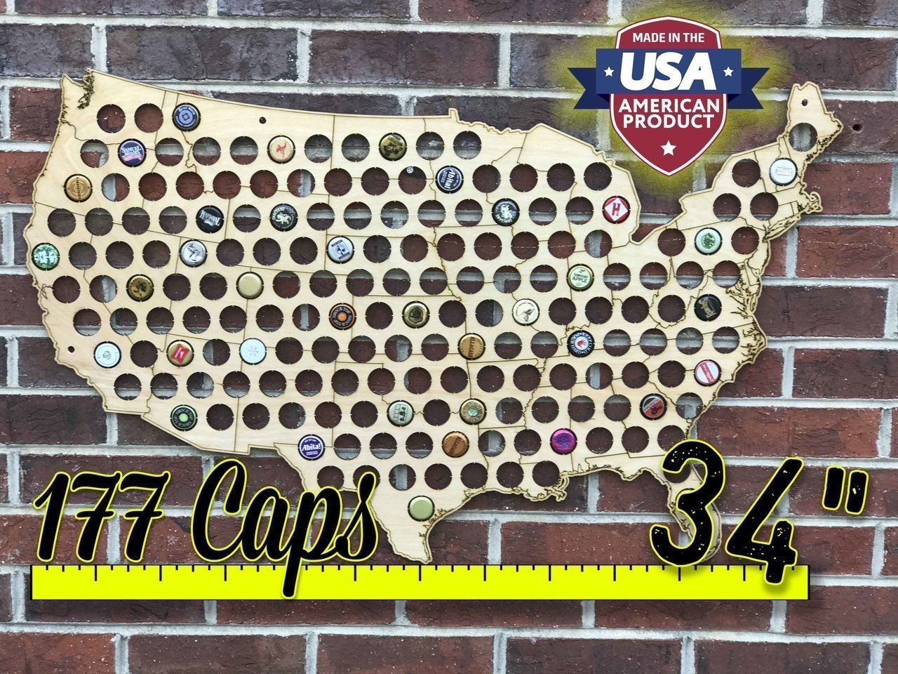 Natural Wood Bottle Cap Map Holder FREE SHIPPING