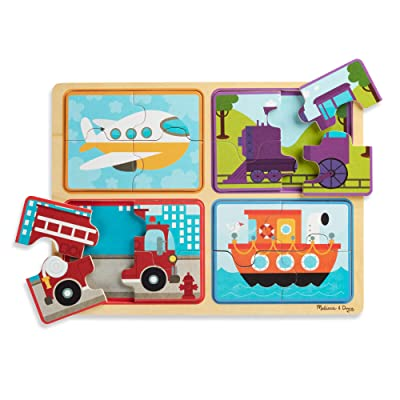 Melissa & Doug Natural Play Wooden Puzzle: Ready, Set, Go (Four 4-Piece Vehicle Puzzles): Toys & Games