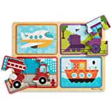 Melissa & Doug Natural Play Wooden Puzzle: Ready, Set, Go (Four 4-Piece Vehicle Puzzles)