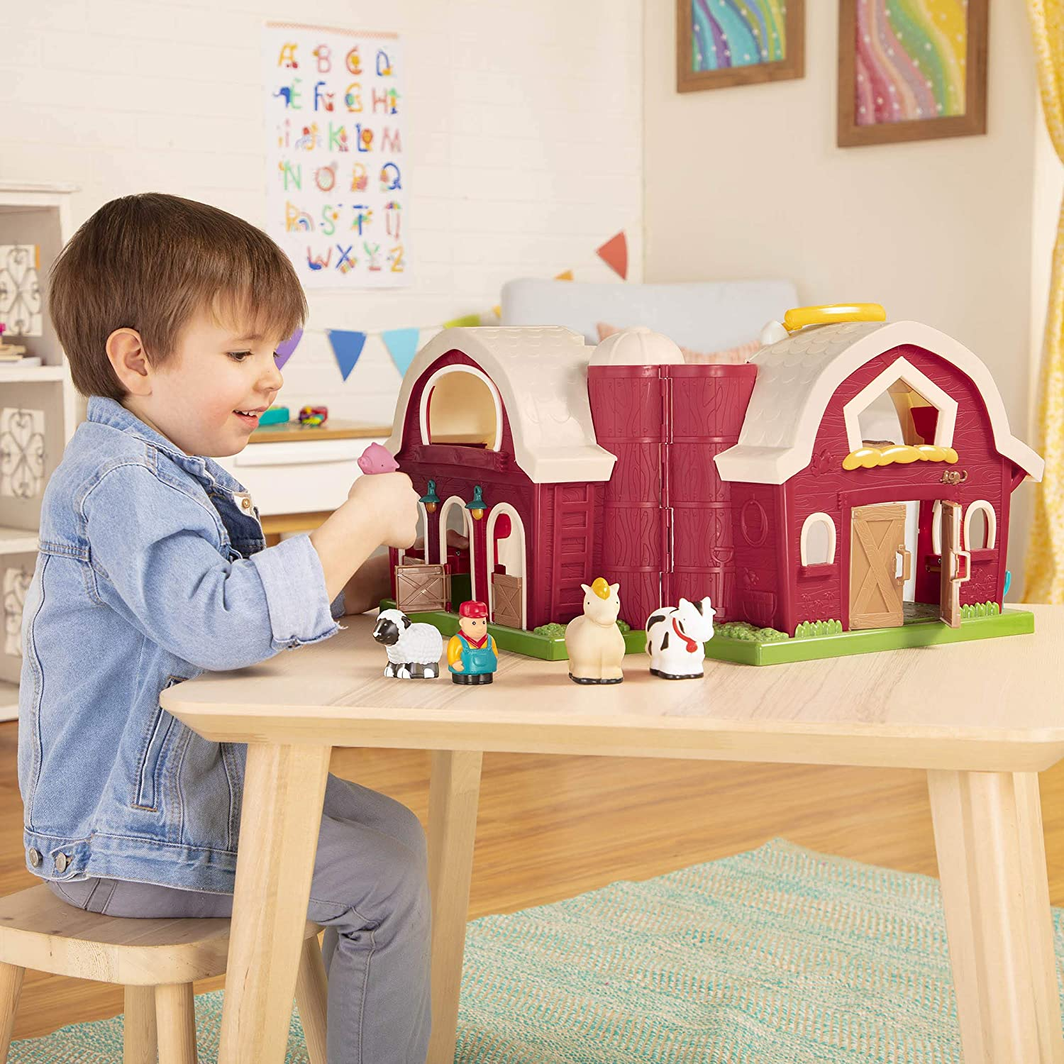 """Battat – Big Red Barn – Animal Farm Playset for Toddlers 18M+ (6Piece), Dark Red, 13.5"""" Large x 9"""" W x 12"""" H: Toys & Games"""