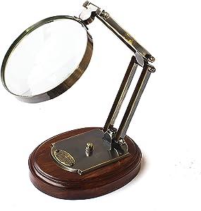 Vintage Barraud & Sons London Brass Magnifying Glass Desktop Accessory Antique Magnifier