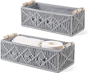 Mkono Macrame Storage Baskets Decor Box Handmade Woven Decorative Countertop Toilet Tank Shelf Cabinet Organizer Boho Decor for Bedroom Nursery Livingroom Set of 2, Grey